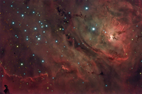 M8: The Lagoon Nebula  by Processing: Tom Davis, Acquisition: Jim Misti