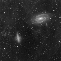 M81 and M82; B/W version; Taken Dec 2008 from Foresthill, CA