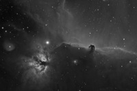 The Horsehead and Flame Nebulae - IC434 and NGC2024 in H-Alpha